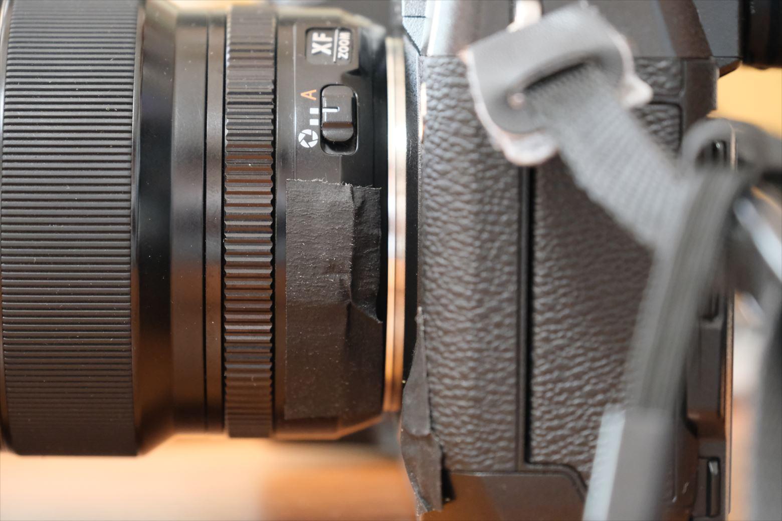 パーマセルテープを使ったカメラのダイヤル固定方法